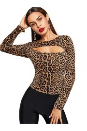 SweatyRocks Women's Leopard Print Cut Out Long Sleeve Slim Fit T Shirt Tops - Mi look - $9.89  ~ 8.49€