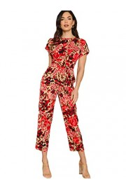SweatyRocks Women's Rolled Short Sleeve Knot Front Leopard Long Pant Jumpsuits Romper - Myファッションスナップ - $14.99  ~ ¥1,687