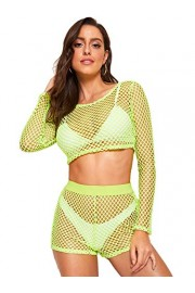 SweatyRocks Women's Sexy 2 Pieces Fishnet Crop Top with Shorts Outfit Set - Il mio sguardo - $13.99  ~ 12.02€