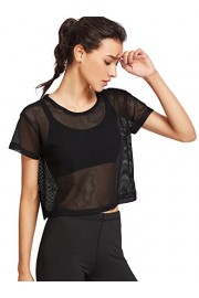SweatyRocks Women's Sexy Sheer Mesh Fishnet Net Short Sleeve T-Shirt Crop Top - My look - $9.99