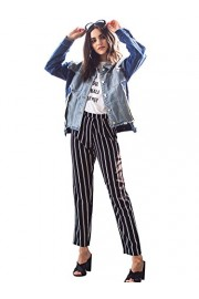 SweatyRocks Women's Striped Elastic High Waist Slim Fit Loose Casual Long Pants - Myファッションスナップ - $13.99  ~ ¥1,575