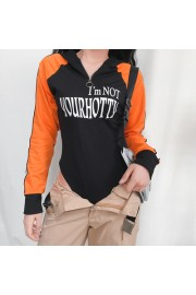 Tight jumpsuit hooded zipper letter prin - My look - $27.99
