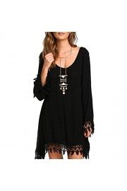 Tunic Dress, Idingding Women's Splicing Hollowed Out Casual Loose Long Sleeve T-shirt Dress - Il mio sguardo - $21.99  ~ 18.89€