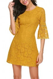 Twinklady Women's 3/4 Bell Sleeve Floral Lace Elegant Cocktail Party A-Line Mini Dress - O meu olhar - $19.99  ~ 17.17€