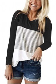 Twinklady Women's Long Sleeve Color Block Shirts O-Neck Knit Tunics - O meu olhar - $11.99  ~ 10.30€