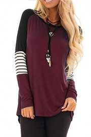 Twinklady Women's Long Sleeve Stripe Color Block T Shirt Elbow Patch Tops - O meu olhar - $11.99  ~ 10.30€
