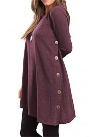 Twinklady Women's Scoop Neck Long Sleeve Button Side T-Shirt Tunic Dress - O meu olhar - $6.99  ~ 6.00€