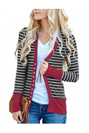 Twinklady Women's Striped Snap Button Down Pockets Knit Casual Cardigan Sweater - O meu olhar - $13.99  ~ 12.02€