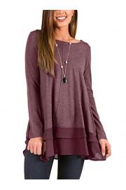 Twinklady Women's Tunic Tops Long Sleeve Chiffon Layer Flowy Loose Blouse - O meu olhar - $12.99  ~ 11.16€