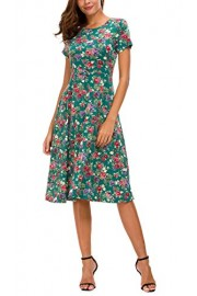 Urban CoCo Women's Floral Print Short Sleeve Flared Midi Dress - My look - $22.86