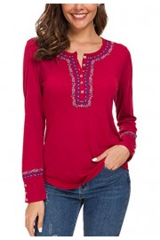 Urban CoCo Women's Long Sleeve Boho Shirt Embroidered Top - My look - $17.86