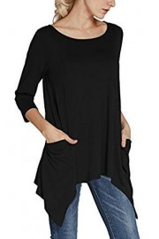 Urban CoCo Women's Plus Size 3/4 Sleeve Tunic Tops for Leggings Loose Pocket Shirt - My look - $12.85