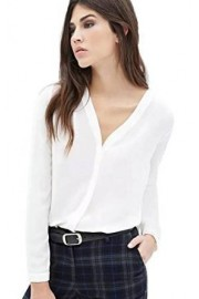 Urban CoCo Womens V Neck Ruffled Shoulder Solid Chiffon Blouse - My look - $18.86