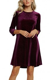 Urban CoCo Women's Velvet Party Dress 3/4 Sleeve Cocktail Dress - My look - $37.86
