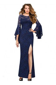 VFSHOW Womens Bell Sleeve High Slit Formal Evening Prom Party Maxi Dress - My look - $35.99