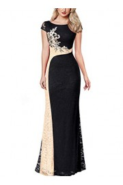 VFSHOW Womens Colorblock Floral Applique Lace Formal Evening Long Maxi Dress - My look - $55.99