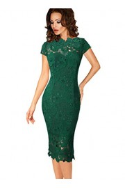 VFSHOW Womens Elegant Floral Lace Cocktail Party Slim Bodycon Sheath Dress - My look - $21.99