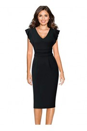 VFSHOW Womens Elegant Ruched Ruffle Sleeve Work Business Office Party Sheath Dress - My look - $36.99