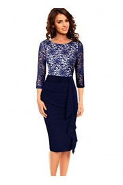 VFSHOW Womens Elegant Ruched Ruffles Cocktail Party Bodycon Sheath Dress - My look - $39.99