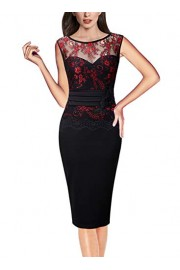 VFSHOW Womens Floral Lace Embroidered Cocktail Party Bodycon Sheath Dress - My look - $35.99