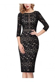 VFSHOW Womens Floral Lace Keyhole Back Patchwork Cocktail Party Sheath Dress - My look - $32.99