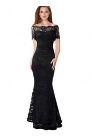 VFSHOW Womens Floral Lace Off Shoulder Formal Evening Mermaid Maxi Dress - My look - $46.99