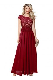 VFSHOW Womens Lace Chiffon Formal Evening Wedding Party A-Line Maxi Dress - My look - $53.99
