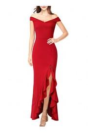 VFSHOW Womens Off Shoulder Ruffle Split Formal Evening Mermaid Maxi Dress - My look - $37.99