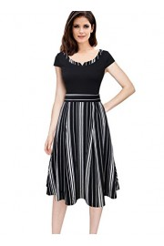 VFSHOW Womens Patchwork Pockets Work Business Office Casual A-Line Dress - My look - $36.99