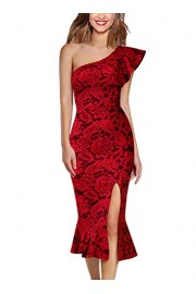 VFSHOW Womens Ruffle One Shoulder Cocktail Party Mermaid Midi Mid-Calf Dress - My look - $28.99