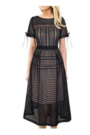 VFSHOW Womens Sexy Eyelet Mesh Patchwork Cocktail Party A-Line Midi Dress - My look - $44.99