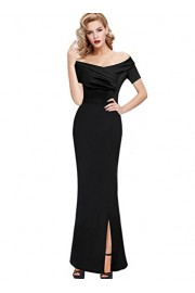 VFSHOW Womens Vintage Ruched Off Shoulder Formal Evening Party Maxi Dress - My look - $38.99