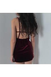 Velvet deep V sexy leaky back tight-fitt - O meu olhar - $27.99  ~ 24.04€