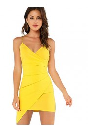 Verdusa Women's Sexy Ruched Side Asymmetrical V Neck Bodycon Cami Dress - Mi look - $16.99  ~ 14.59€