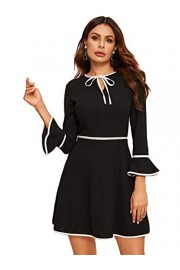 Verdusa Women's Tie Neck Contrast Binding Flounce Sleeve Short Dress - Mein aussehen - $20.99  ~ 18.03€