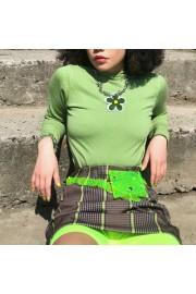 Vintage Avocado Green Sun Flower Half-ne - My时装实拍 - $29.99  ~ ¥200.94