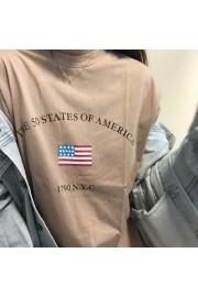 Vintage Loose Round Neck American Flag P - My时装实拍 - $35.99  ~ ¥241.15