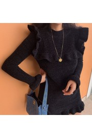Vintage Snow Fleece Wood Ear Knit Dress - My look - $27.99