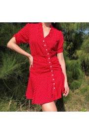 Vintage V-neck wave ruffle dress - My look - $29.99