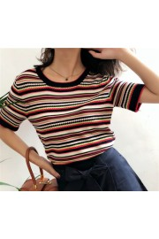 Vintage color striped short sleeve loose - Mein aussehen - $27.99  ~ 24.04€