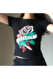 Vintage dark rose print round neck high - My look - $19.99  ~ £15.19