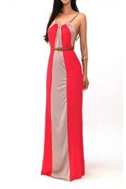 Vivicastle Women's USA Multi Color Block Striped Mock Long Maxi Long Dress - Mi look - $15.95  ~ 13.70€