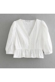 V-neck embroidery buckle shirt - Mi look - $27.99  ~ 24.04€