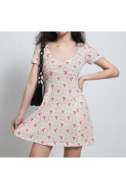 V-neck rabbit print pink cute short-slee - Moj look - $27.99  ~ 177,81kn