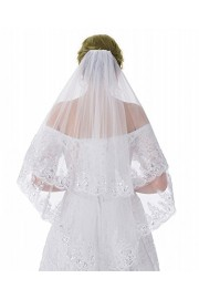 WDING 2 Tier Lace Appliqued Edge Bridal Wedding Veil with Comb Fingertip Length 35 - O meu olhar - $11.99  ~ 10.30€