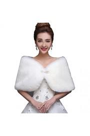 WDING Bridal Warm Fur Shawl White Wedding Bolero Wrap Cape Stole Women Coat - O meu olhar - $19.00  ~ 16.32€