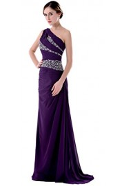 WDING Formal Evening Gowns Trumpet One Shoulder Evening Prom Dress With Crystal - O meu olhar - $189.99  ~ 163.18€