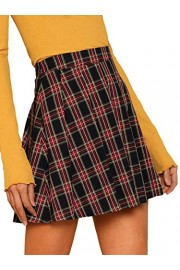 WDIRARA Women's Casual Plaid High Waist Pleated A-Line Mini Skirt - My look - $14.99  ~ £11.39