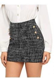 WDIRARA Women's High Waist Above Knee Double Breasted Tweed Short Mini Skirt - My look - $13.99