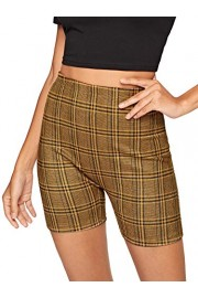 WDIRARA Women's Stretchy Elastic Waist Plaid Print Skinny Cycling Short Leggings - My look - $5.99  ~ £4.55
